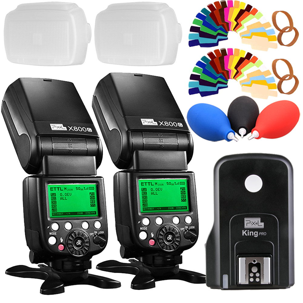 2x Pixel X800C PRO GN60 E-TTL FSK 2.4GHz Radio Wireless HSS Flash Speedlite + King Pro Transmitter for Canon DSLR camera pixel x800s standard gn60 hss ttl flash speedlite 2pcs king pro 2 4g flash trigger transceivers for sony a7 a7s a7r a7rii
