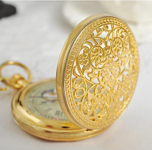 Brilliant Gold Steel Antique Hunter Luxury Mechanical Pocket Watch Mens With Chain 38cm relogio de bolso PJX963 antique style luxury vintage gold mechanical hand winding pocket watch pendant with fob chain for mens womens reloj de bolsillo