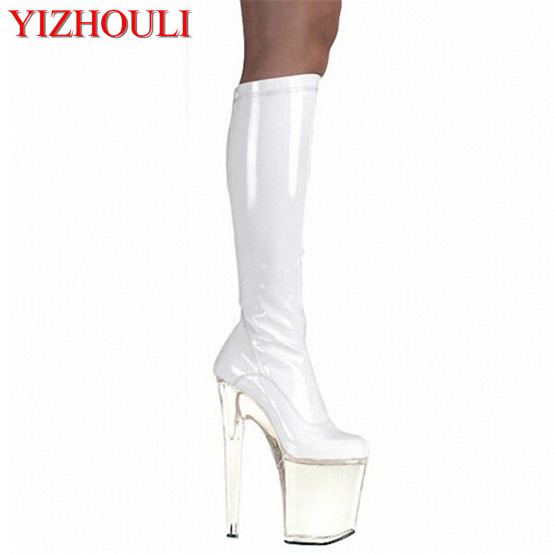 20cm high-heeled shoes round toe shoes japanned leather knee-high sexy boots cd shoes 8 inch With Platform fashion crystal boots20cm high-heeled shoes round toe shoes japanned leather knee-high sexy boots cd shoes 8 inch With Platform fashion crystal boots