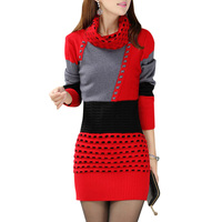 Women Patchwork Autumn Sweater Dress Fashion Casual Full Sleeve Vintage Dress Turtleneck Sexy Knitted Short Party