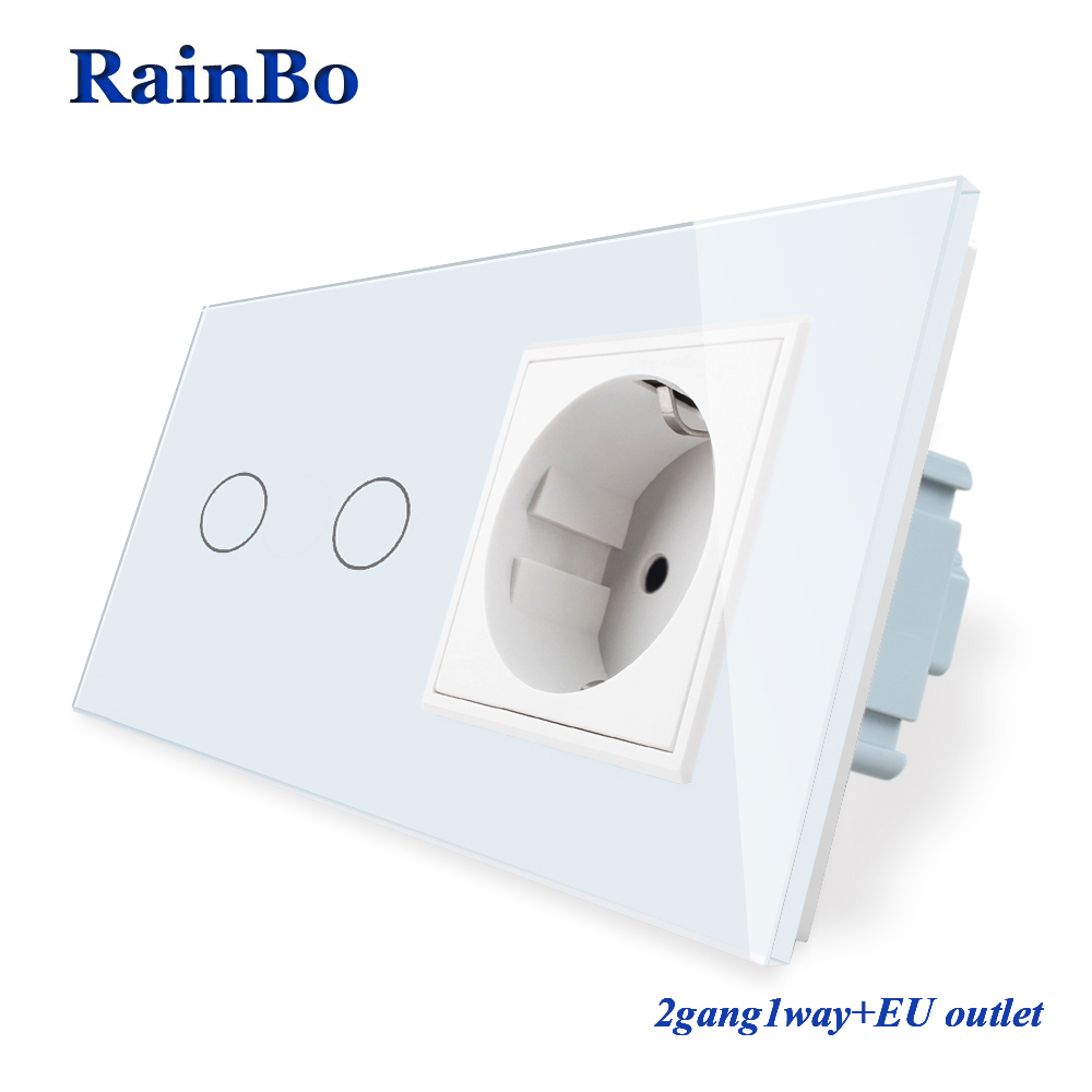 RainBo  Luxury-Touch Screen-Control Tempered-crystal Glass-Panel Wall-Light  Touch-Switch Socket-Wall-Socket  A29218ECW/B