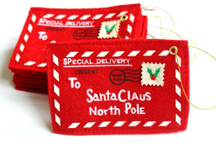 Embroidery Christmas Envelope To Santa Claus North Pole Tree Accessories Christmas Small Gift Candy Bags Home Party Xmas Decor in Pendant Drop Ornaments from Home Garden