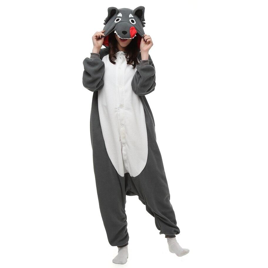 Timber wolf Animal pajamas Adult sleep lounge Unisex Pajamas Kigurumi Cosplay Costume Animal Onesies Sleepwear