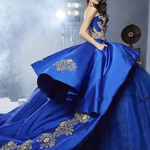 087bd646372 Luxury Detail Gold Embroidery Quinceanera Dresses with Peplum 2019  Masquerade Ball Gown Royal Blue Sweet 16