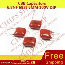 1 лот = 20 шт. CBB Конденсаторы 6.8nf 682j 5 мм 100 В DIP 6800pf