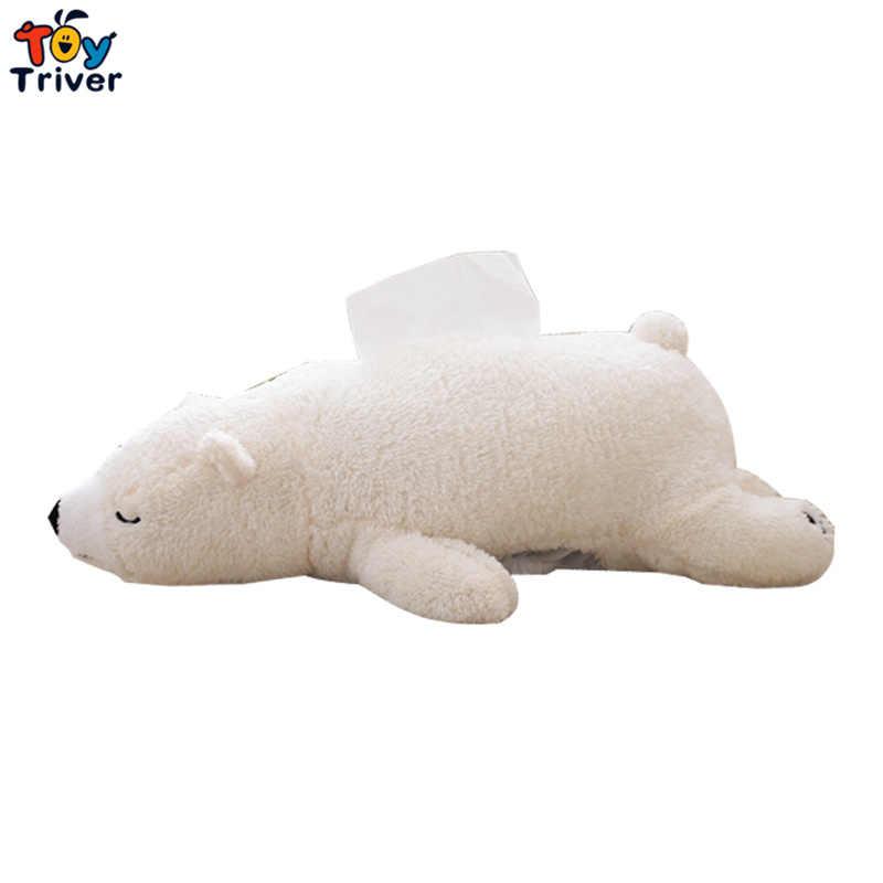 49 см Kawaii мультфильм белый медведь плюшевый полярный медведь животные формы коробки для салфеток футляр для бумажных салфеток дома деко Triver игрушка