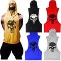 The Punisher Crânio Tanque Tops Homens Camisa Do Músculo T Ginásio Longarinas de Fitness Musculação Sem Mangas Com Capuz Colete Ouro Preto Cinzento Vermelho