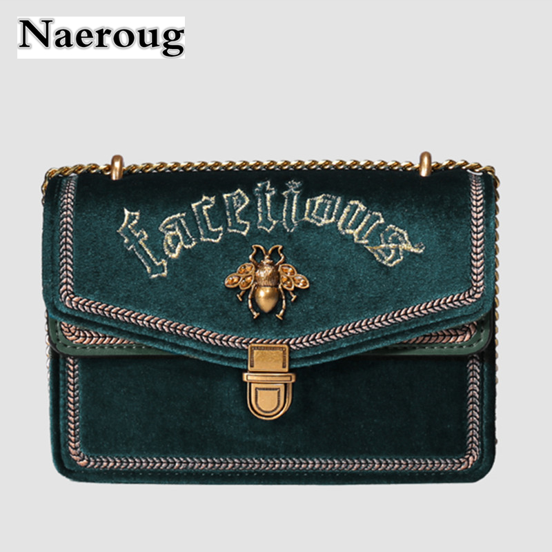 2018 Luxury Brand Female Bag Velvet Chain Shoulder Bag Retro Corduroy Embroidered Crossbody Bags Female Clutch Flap Handbags Sac 2018 fashion children s cotton parkas winter outerwear coats thickened warm jackets baby boy and girl faux fur coat