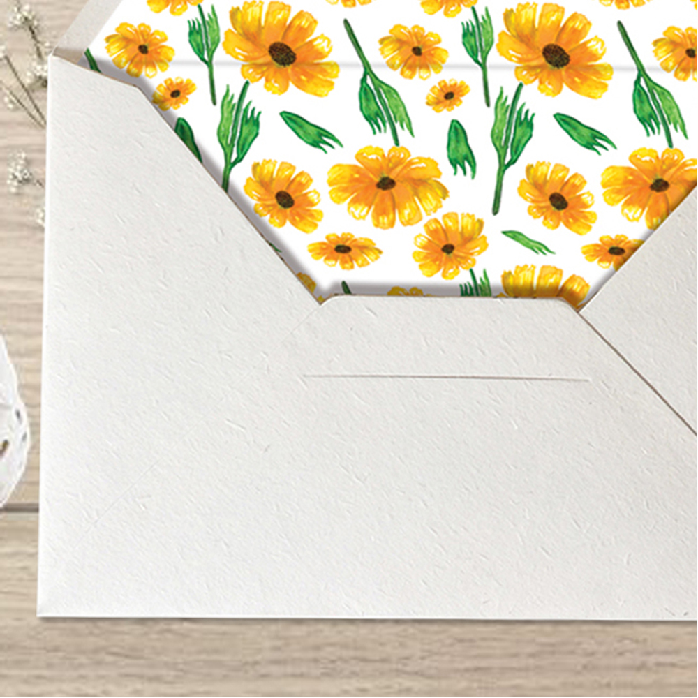 Sunflower Wedding Invitations, Floral Wedding Cards with Lined ...