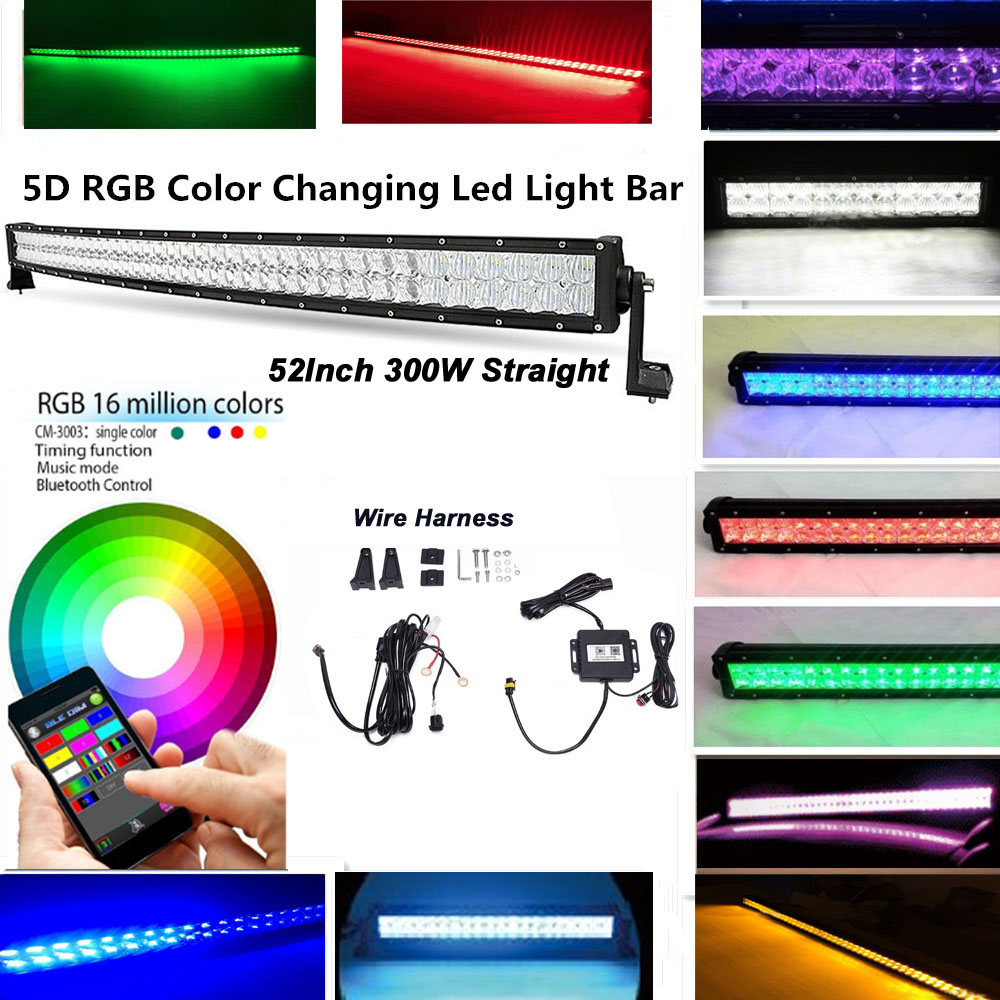 12v 24v 52 Quot 300w 5d Led Light Bar Offroad Rgbw Color