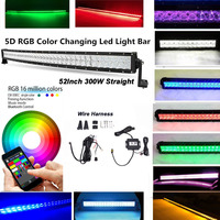 Honzdda 12V 24V 52 300W 5D RGB Led Light Bar Color Cahnging Bluetooth App Control 16 Million Color Changing Light Bar Offroad
