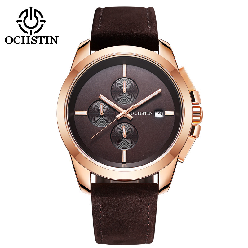 OCHSTIN Men Watches Top Brand Luxury Male Leather Waterproof Sport Quartz Chronograph Military Wrist Watch Men Clock montre megir sport mens watches top brand luxury male leather waterproof chronograph quartz military wrist watch men clock saat 2017