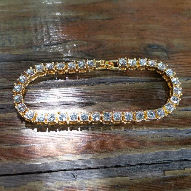 Hip hop Bling Iced Out Cubic Zirconia Bracelet Tennis Chain Bracelets 1