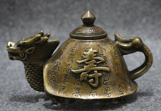 Théière en cuivre Bronze de chine   Statue de tortue Dragon Shou longévité, théière de Pot à vin