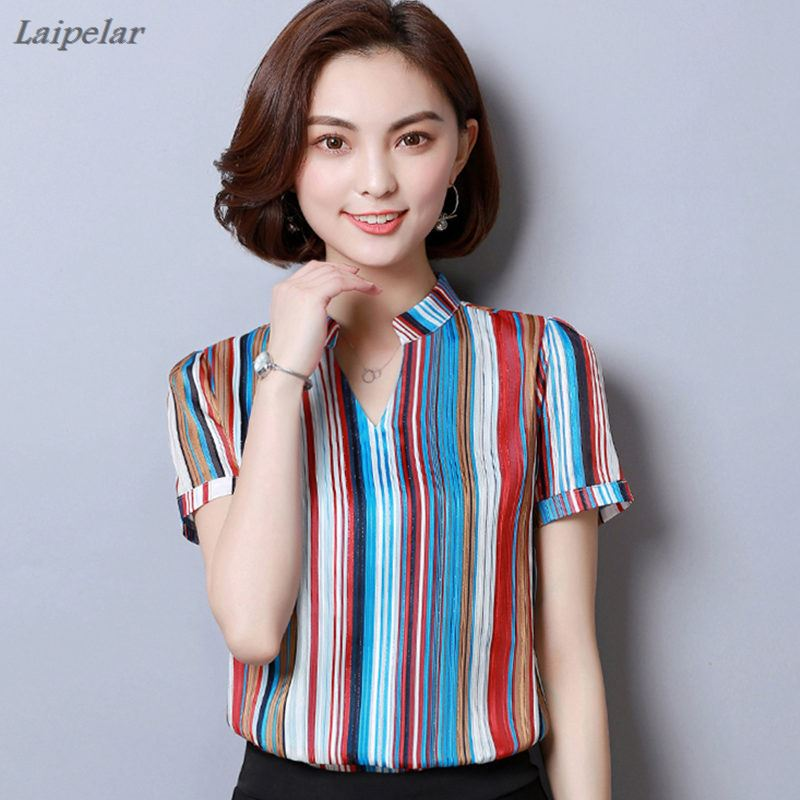 2018 New Women Striped Casual Chiffon Blouses Shirts Fashion Printed Blouse Short Sleeve Femme Shirt Loose Plus Size Ladies Tops in Blouses amp Shirts from Women 39 s Clothing