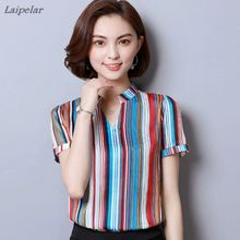 2018 New Women Striped Casual Chiffon Blouses Shirts Fashion Printed Blouse Short Sleeve Femme Shirt Loose Plus Size Ladies Tops