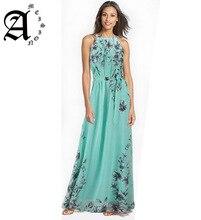 Ameision Women summer dress Floral print halter chiffon Sexy split beach long Bohemia vestidos size S-6XL Cloth belt