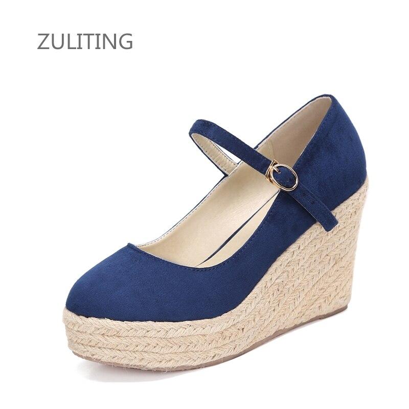 best sneakers 28a17 82c71 Nuovo Elegante zeppe pompe per le donne della piattaforma degli alti  talloni punta rotonda degli alti talloni scarpe di corda di canapa scarpe  size30 ...
