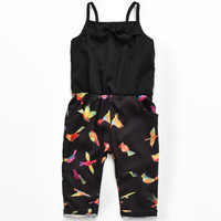 SexeMara Baby Girls Jumpsuit Floral Strap Rompers Toddler Kids Sleeveless Trousers Girls Summer Backless Overalls Clothes