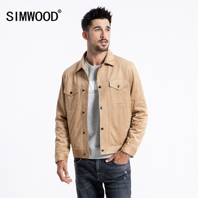 SIMWOOD Smooth Suede Trucker Jacket Men 2018 Autumn Classic Workwear Look Fashion Western Coats Slim Fit Outerwear 180498