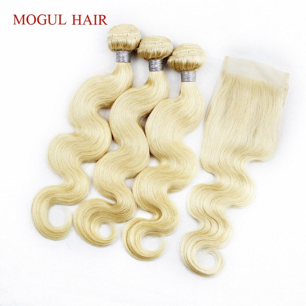 613 Связки с закрытием отбеливать блондинка 3 Связки с кружевом Закрытие бразильского тело волна человеческих волос Weave Связки MOGUL волос
