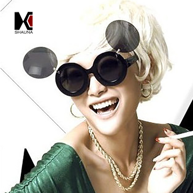 eef069cadf5 SHAUNA Ins Popular Lady Gaga Folding Steampunk Sunglasses Women Cute Round Party  Glasses Men