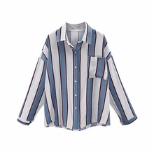 S-2XL Size Summer Long Sleeve Striped Blouse Women Large Size Casual Loose Shirt Turn Down Collar Button Vintage Chemise Femme все цены