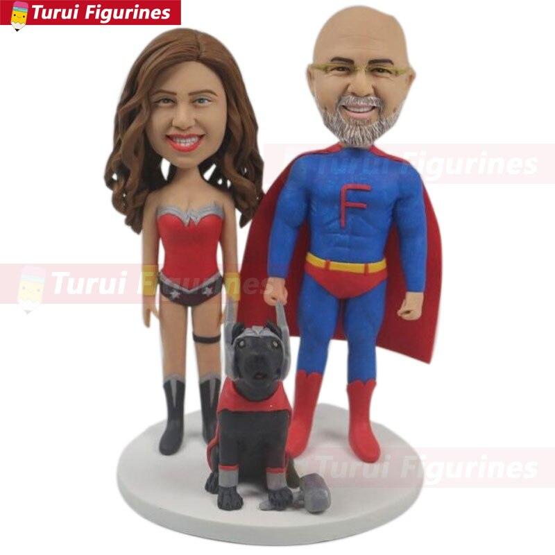 Custom Wedding Cake Topper Personalized Superhero Theme Wedding Superman Groom Wonder Woman Bride Thor Pet Unique Wedding Cake T