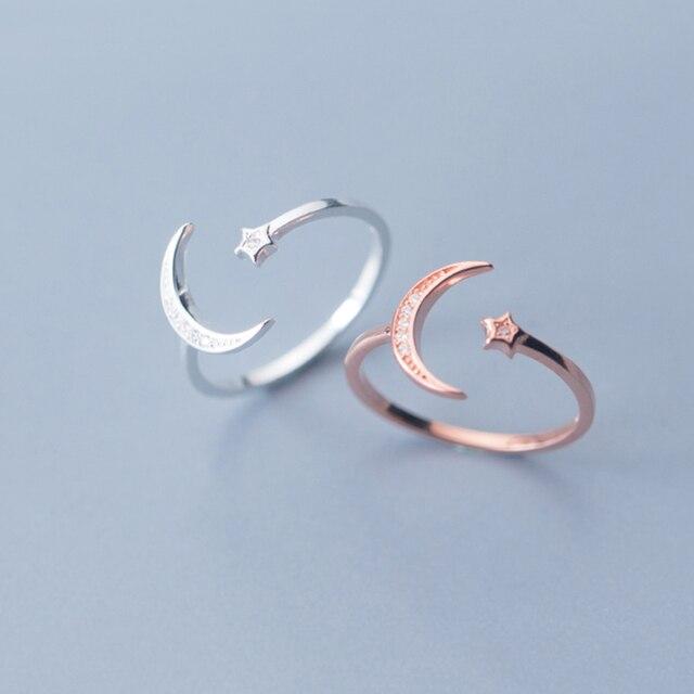 925 Sterling Silver Adjustable Women Rings Rhinestone Moon Star CZ Wedding Rings for Women Girls Party Wedding Jewelry 2020