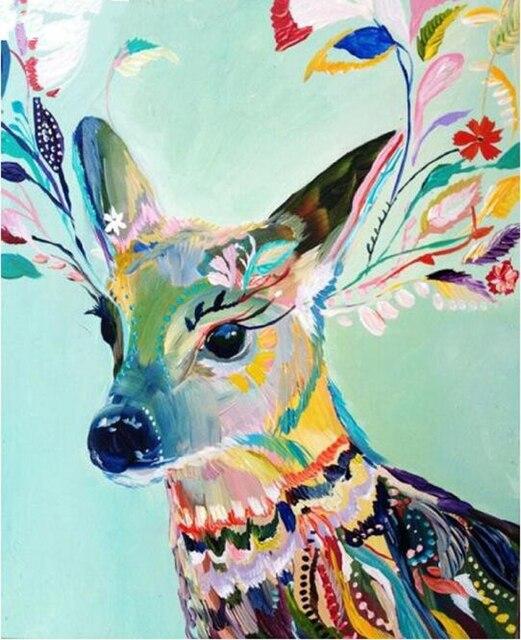 Image of: Gaudi Diamond Embroidery 5d Diy Diamond Painting Colored Deer Animal Paintings Rhinestone Diamond Mosaic Cross Stitch Decoration Kj488 Aliexpresscom Diamond Embroidery 5d Diy Diamond Painting Colored Deer Animal
