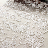 5yards 23 Wide Cream White Embroidery Handmade Bride Wedding DIY Lace With Sequins Lace Fabric For