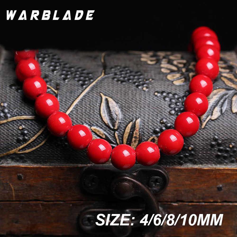 Kamień naturalny czerwony koral koraliki okrągłe luźne koraliki 4mm 6mm 8mm 10mm 12mm 14mm do tworzenia biżuterii naszyjnik DIY bransoletka WarBLade
