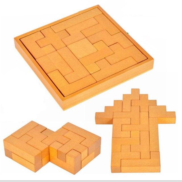 Классический IQ 3D Тетрис Деревянный Логические Головоломки Игры Игрушки для Детей/Взрослых, Creative 3D Деревянные Головоломки игрушки