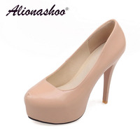 Fashion Super High Heels With Platform Comfortable Women Office Shoes Round Toe Thin Heel Black PU Leather Shoes Plus Size 34 42