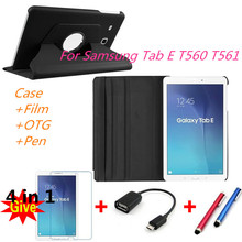 360 Giratoria Litchi PU de la piel cubierta de Cuero de la capa para para Samsung Galaxy Tab 9.6 E T560 T561 Tablet PC cover + film + stylus + OTG