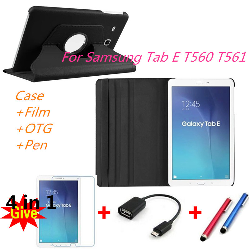 New Products 360 Rotating Litchi skin Leather cases flip stand tablet cover for Samsung Galaxy Tab E 9.6 T560 T561 Tablets cover