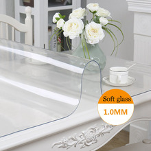 Brand PVC Tablecloth Transparent Waterproof Kitchen Table Crystal Soft Glass Coffee table cover