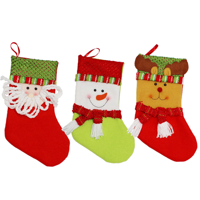 new year plaid christmas stockings socks santa claus candy gift bag xmas tree hanging ornament decoration - Funny Christmas Stockings