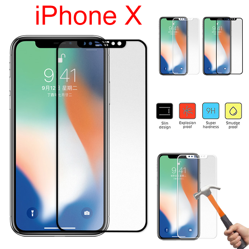 9H Carbon Fiber Edge Matte Tempered Glass Screen Protector For iPhone X Full Cover Colorful Curved Protective Film For iPhone X