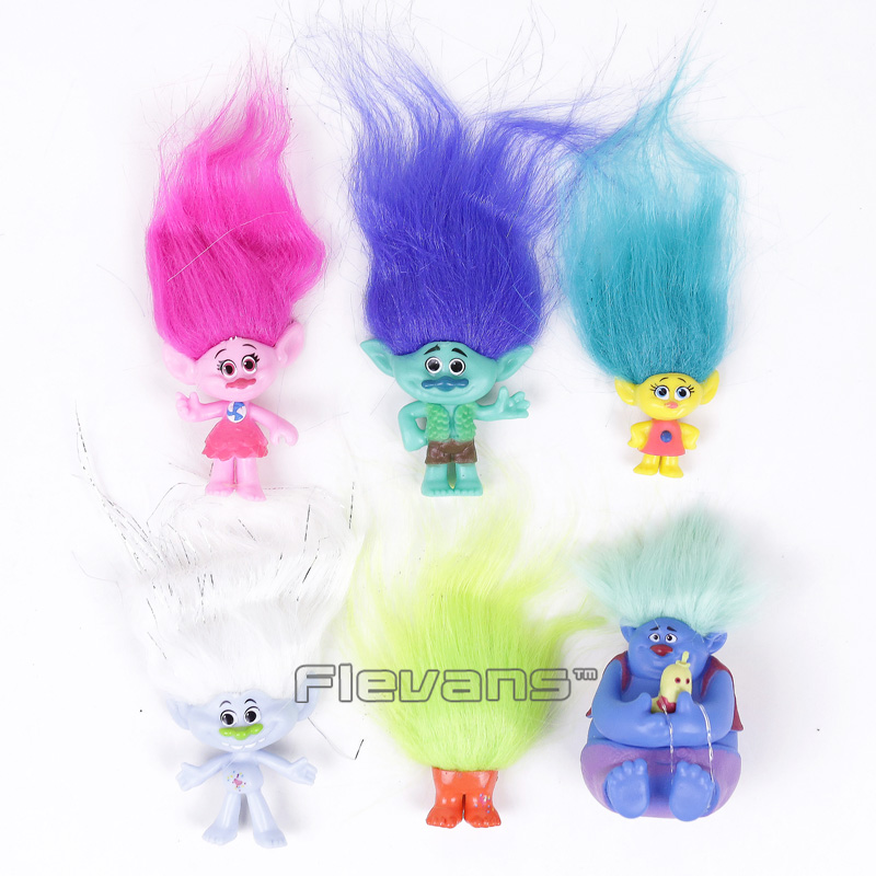 Trolls Poppy Branch Toys Dolls Mini PVC Figures Kids Childrens Gifts 6pcs/set