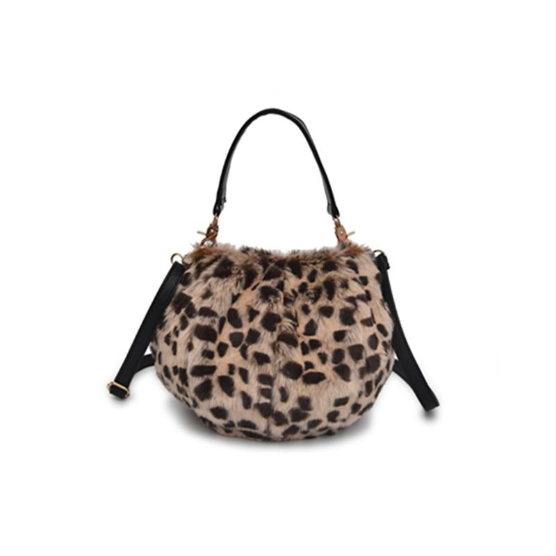 Soft Fluffy Faux Fur LEOPARD ANIMAL PRINT Handbag Clutch Crossbody Messenger Bag