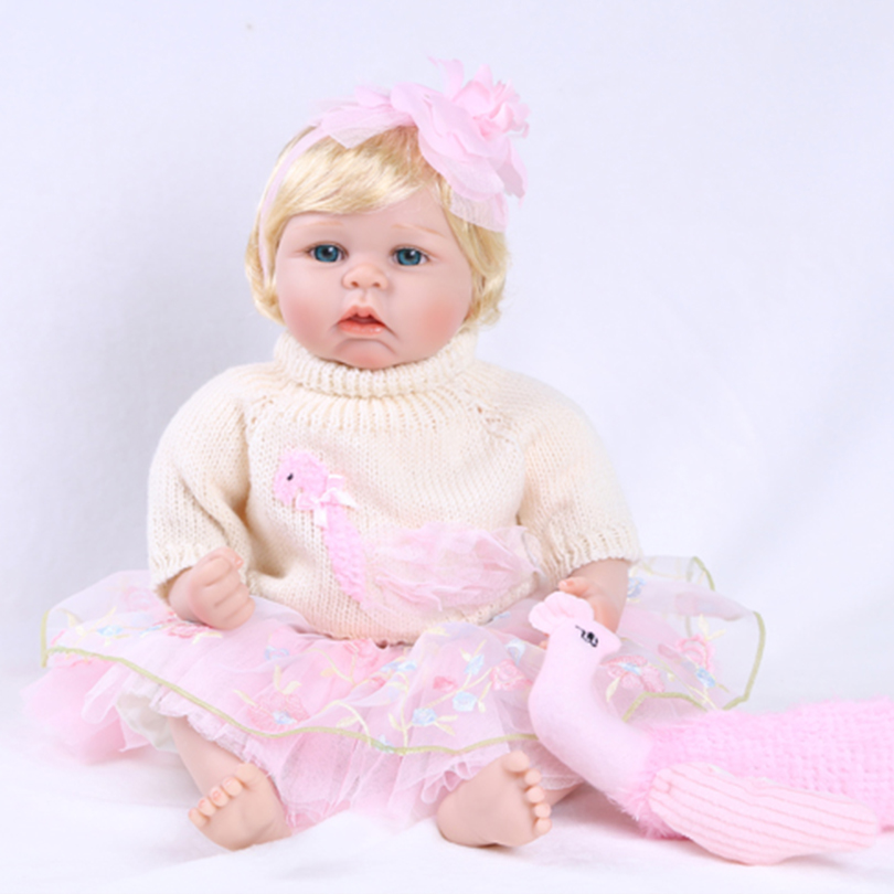 55cm Silicone reborn baby girl doll toy realistic newborn princess toddler babies doll bebe reborn girls bonecas play house toy 55cm silicone reborn baby doll toy realistic 22inch newborn princess babies doll girls bonecas birthday gift present play house