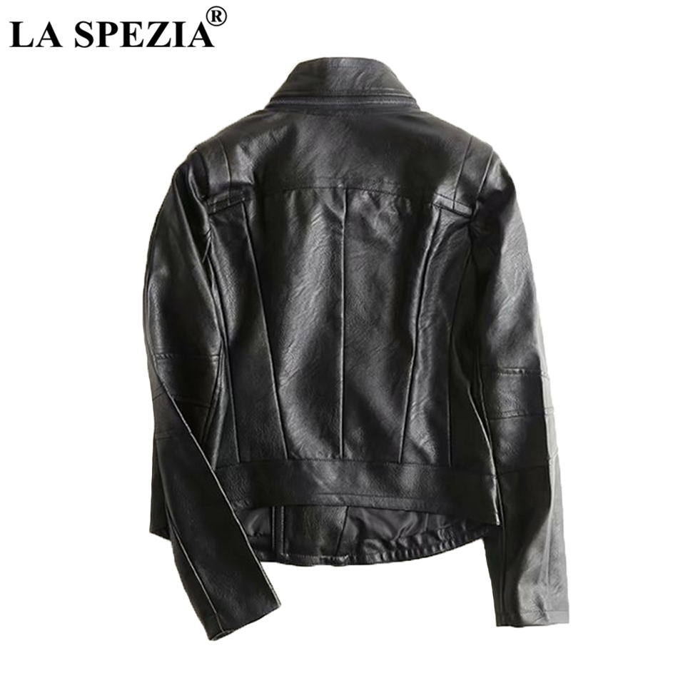 LA SPEZIA Motorcycle Jacket Women Black Biker Coats Female Detachable Collar Soft PU Leather High Quality Ladise Spring Jackets