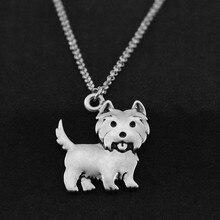 Vintage Silver Westie Pendant Dog Necklace Women