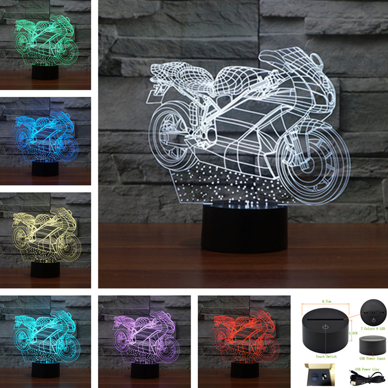 AUCD Racing Motorcycle Colorful Acrylic Touch Table Lamp Bar Art Decor USB 3D Visual LED Desk Night Lights 3D-TD264 three dimensional 3d visual reading lights wood acrylic clear small lamp button type led stereo night light folding book lights