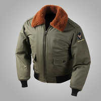 Reproduction US Air Force B-10 Flight Jacket Fur Collar Vintage Bomber Aviator B10 Jacket Men's Military Uniform