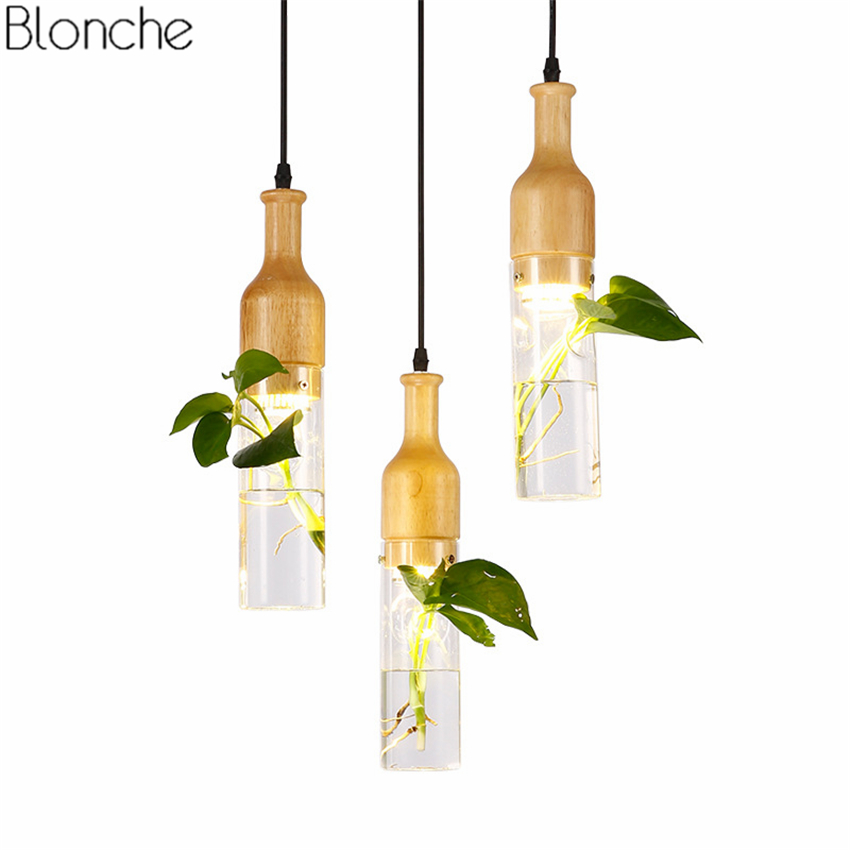 DIY Bottle Plant Pendant lights LED Wood Hanging Lamp Glass Lights for Living Room Restaurant Indoor Lighting Fixtures DecorDIY Bottle Plant Pendant lights LED Wood Hanging Lamp Glass Lights for Living Room Restaurant Indoor Lighting Fixtures Decor