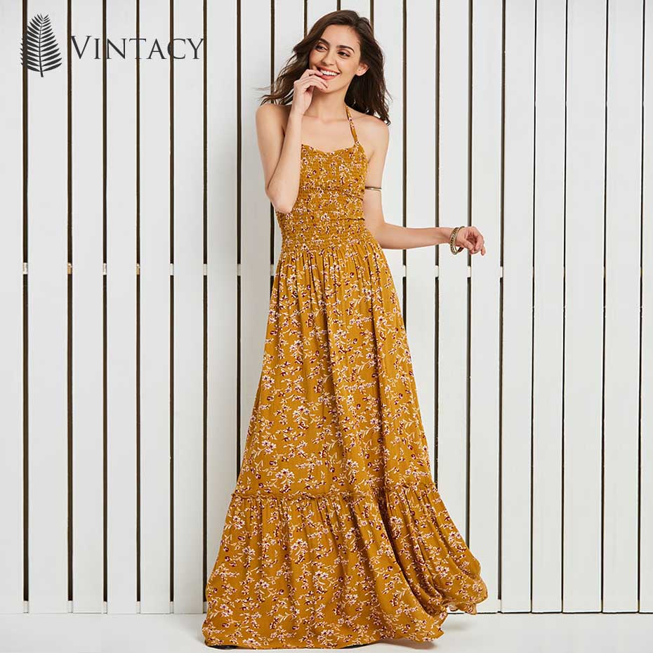 Women Halter Backless Dress Floral Print Bohemian Cross Criss Lace Up Dress 2018 Summer Lady Floor Length Long Maxi Beach Dress