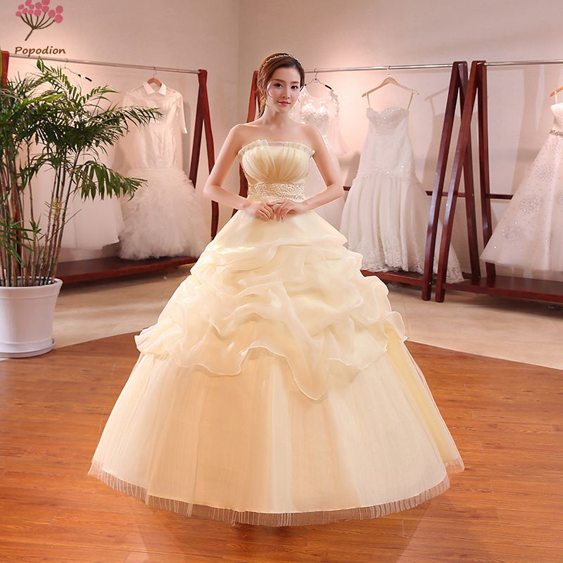 Popodion plus size wedding dress champagne strapless bride dress wedding gowns vestido de noiva WED90507
