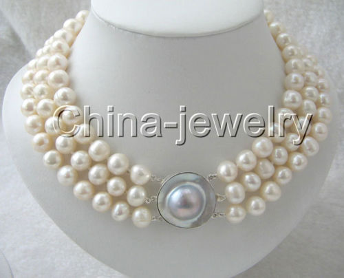 10X10 jewerly free shipping 17-19 3row 10mm natural white round freshwater pearl necklace-silver Mabe clasp